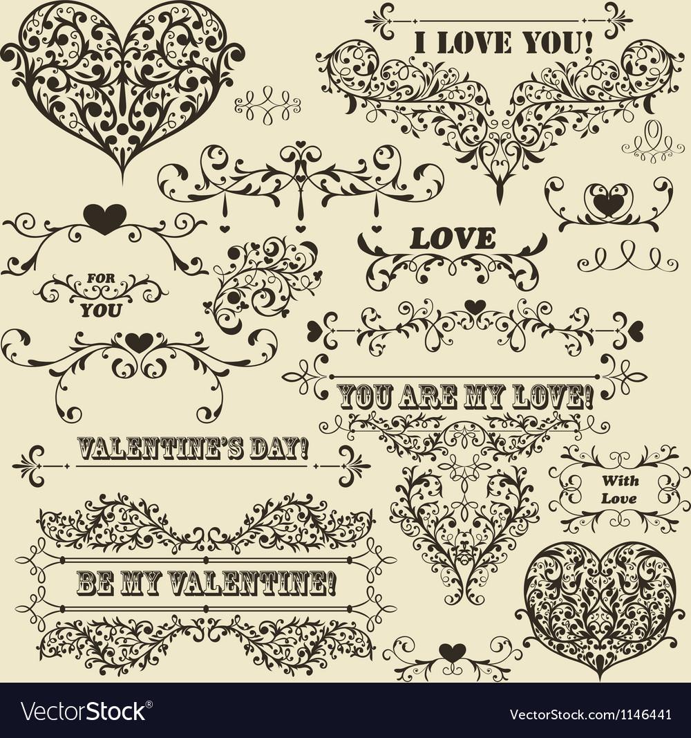 Vintage Valentines detailed design vector image