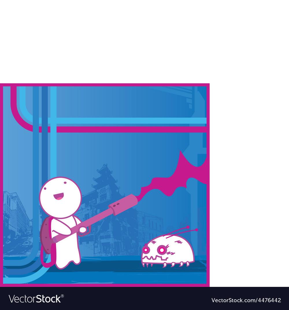 Flamethrower cartoon vector image