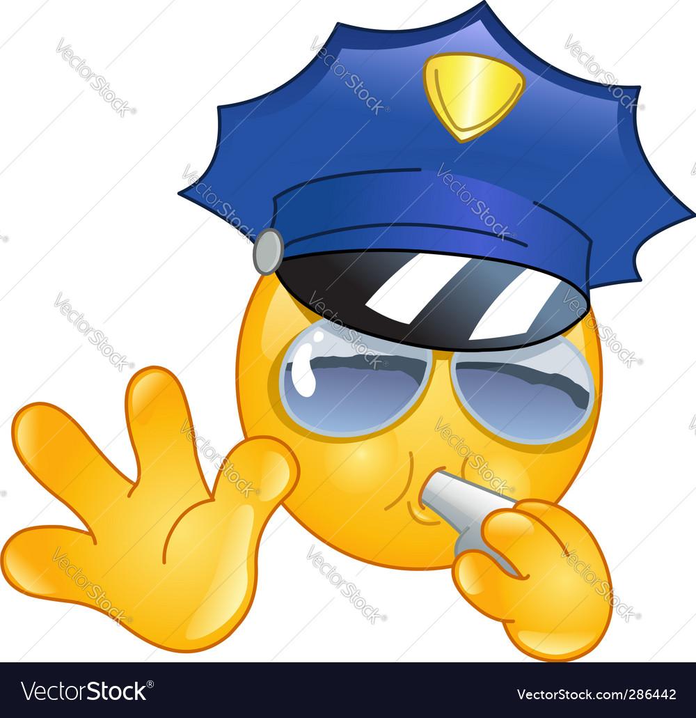 Policeman emoticon vector image