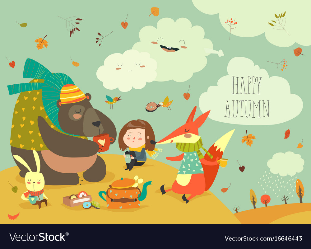 Girl with animals at picnic vector image