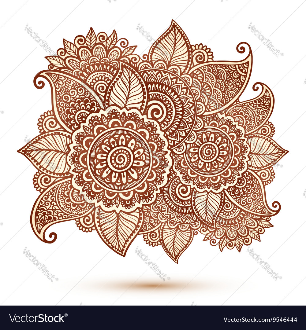 Floral element in Indian henna tattoo style vector image