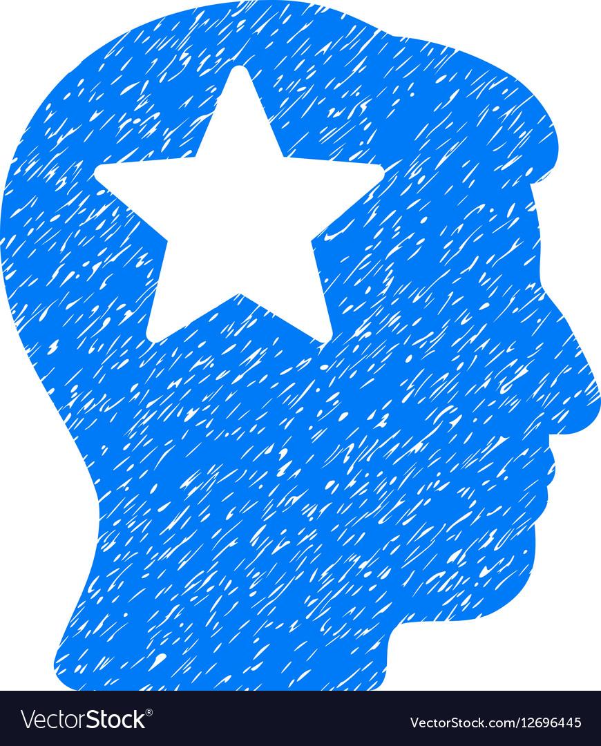 Star Head Grainy Texture Icon vector image