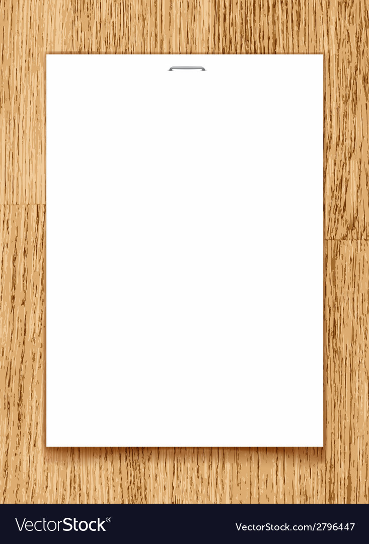 Blank Paper A4 Sheet On Wooden Background Vector Image  Blank Paper Background
