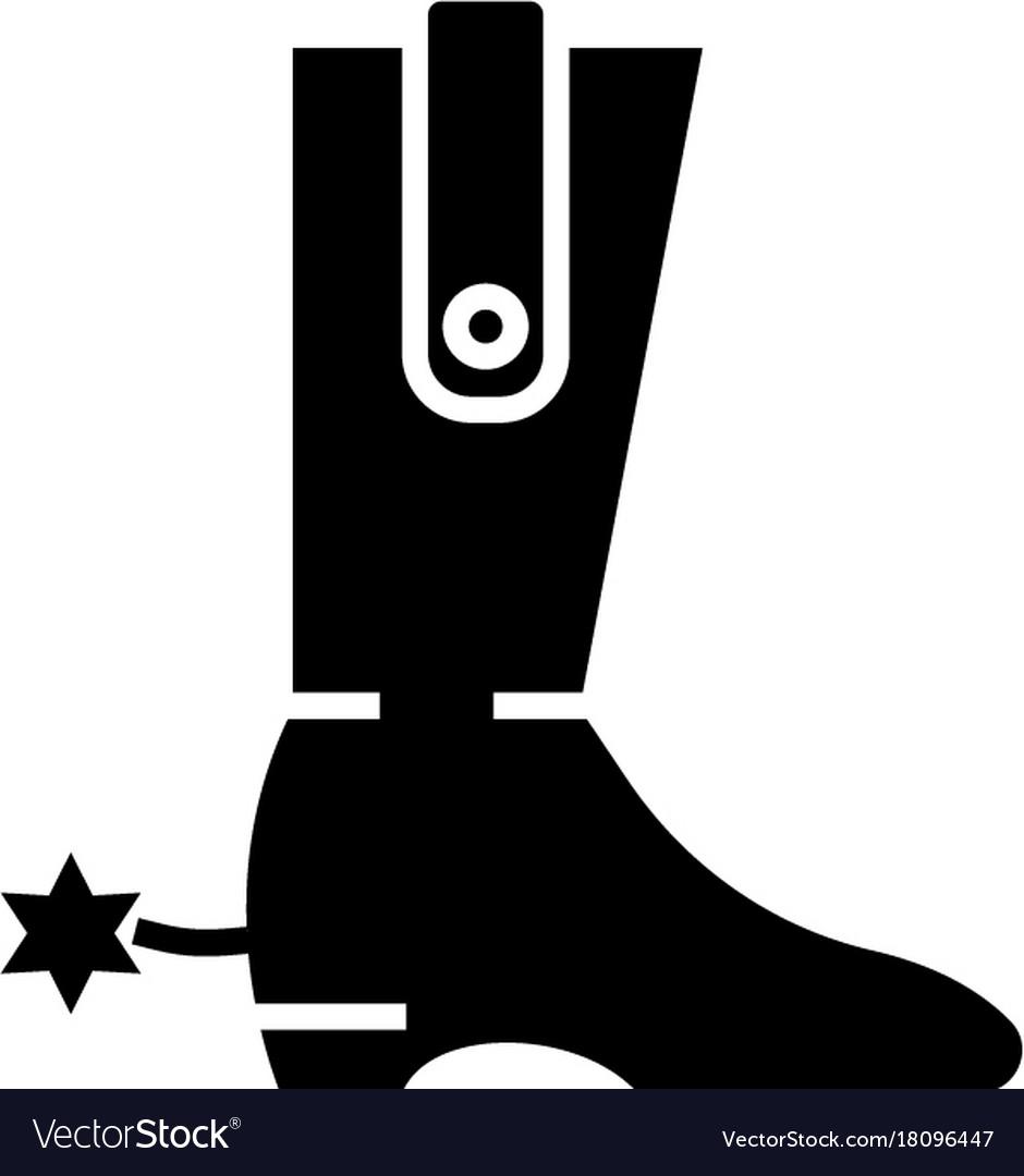 Boot - cowboy icon black vector image