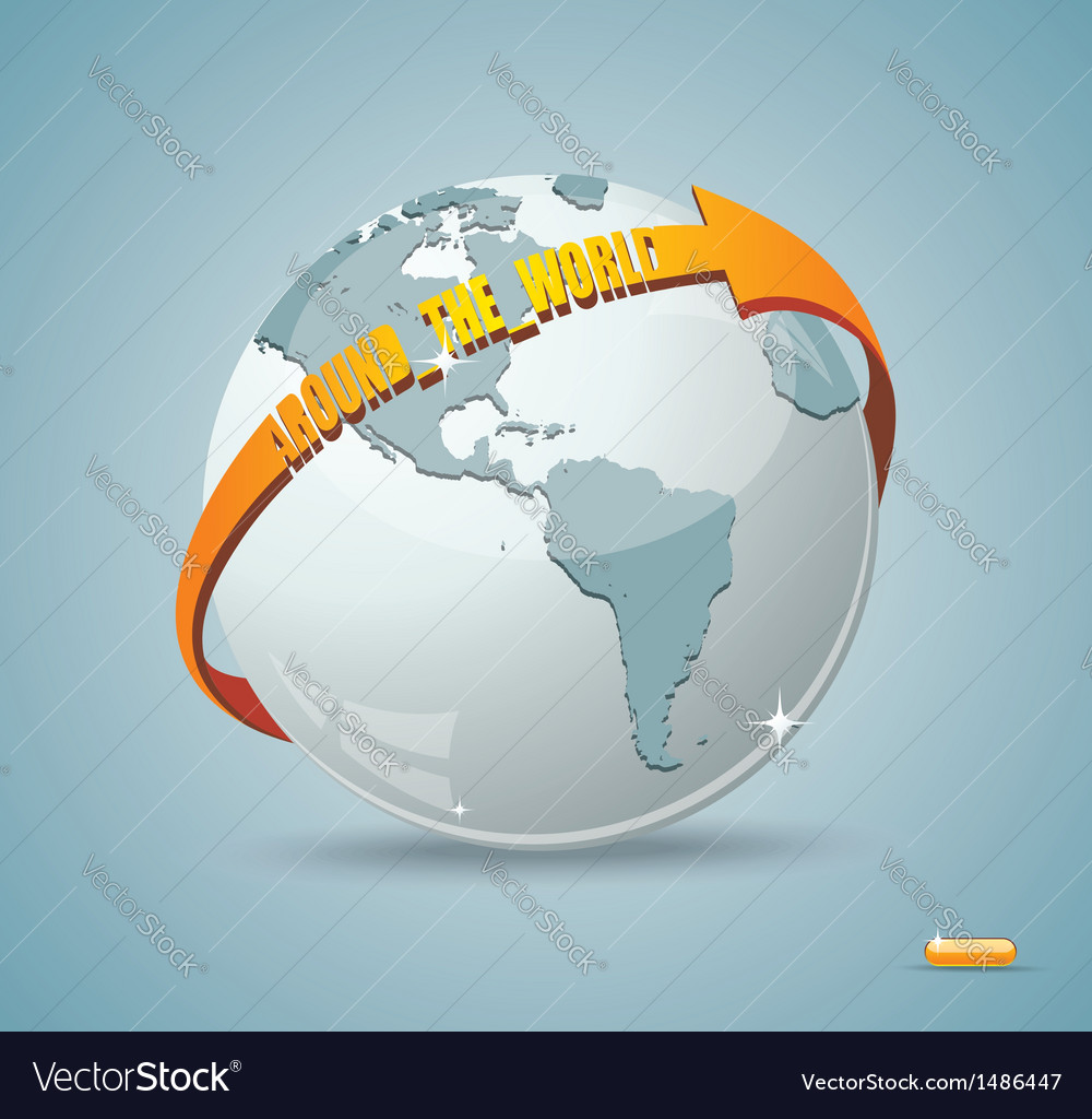 Globe design with around the world arrow vector image