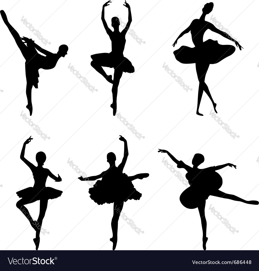 Ballet dancer silhouettes vector image
