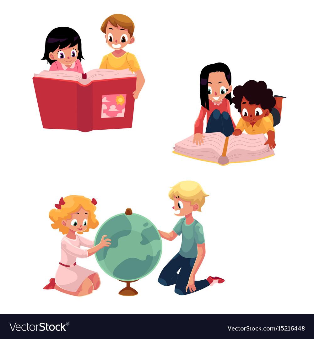 Kids children reading studying learning vector image