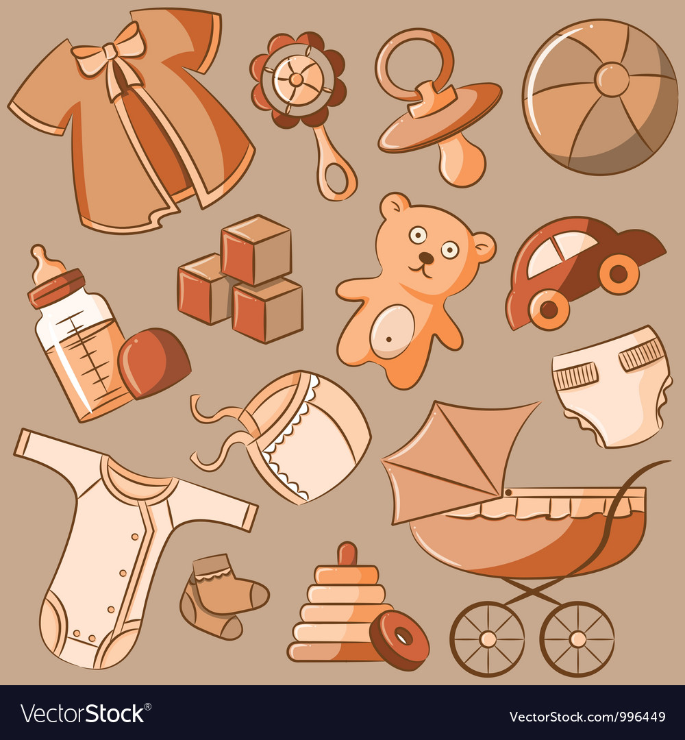 Doodle baby icon set vintage style vector image
