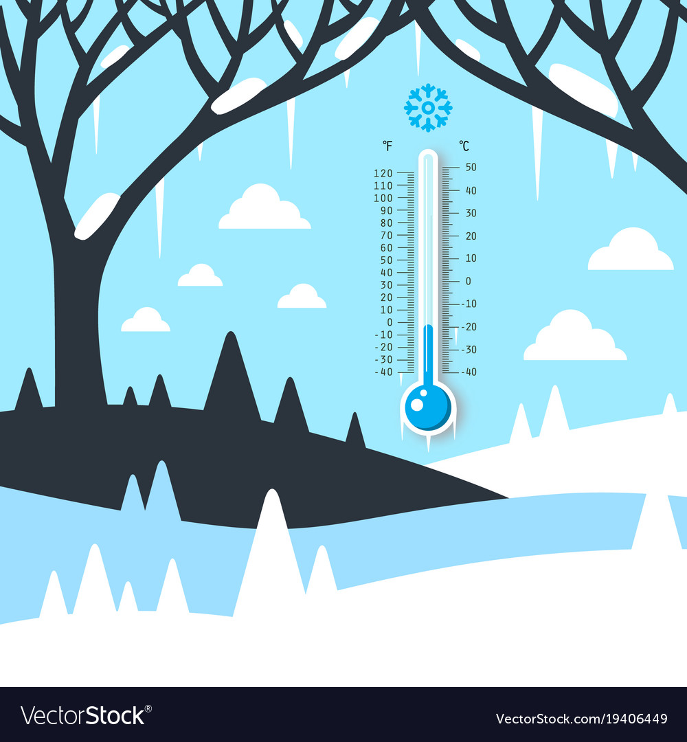 Winter landscape with thermometer frozen land vector image