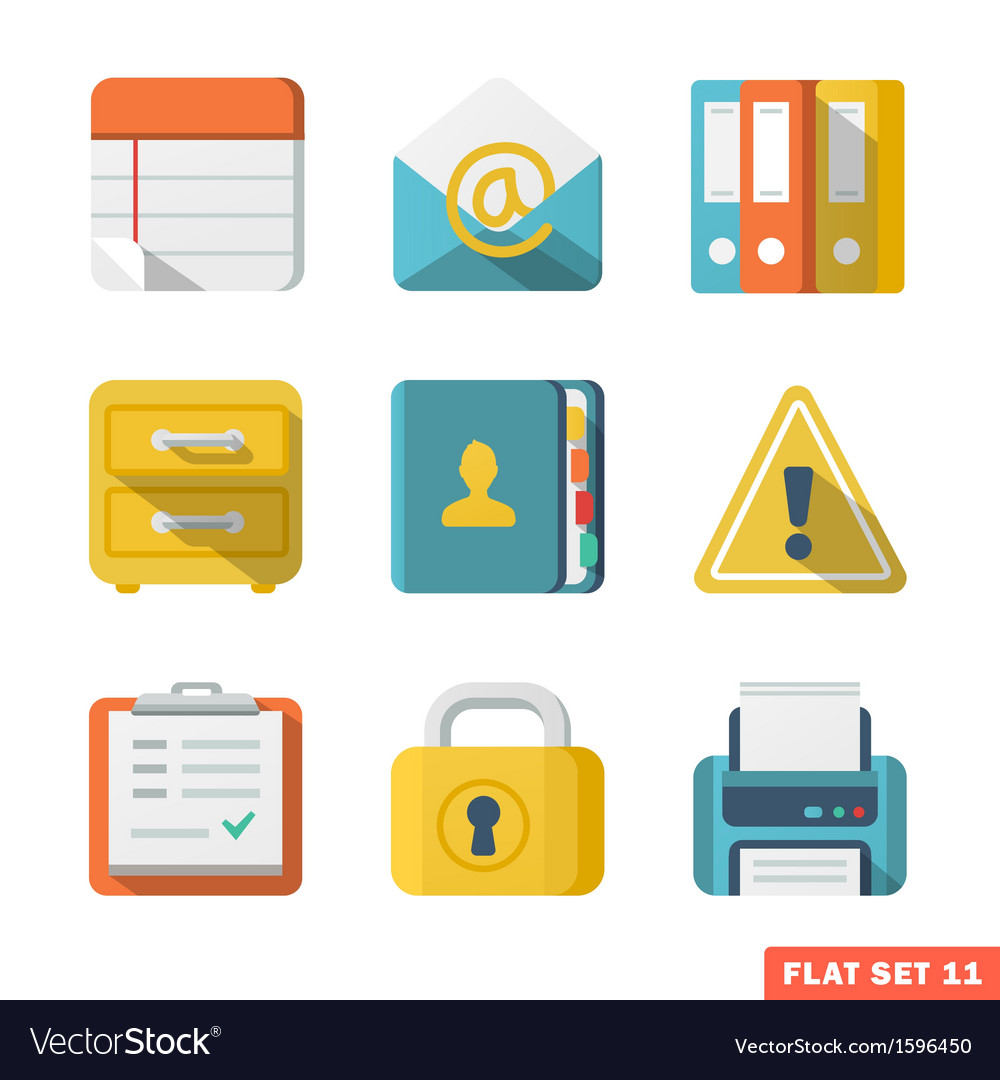 OfficeFlat icons vector image