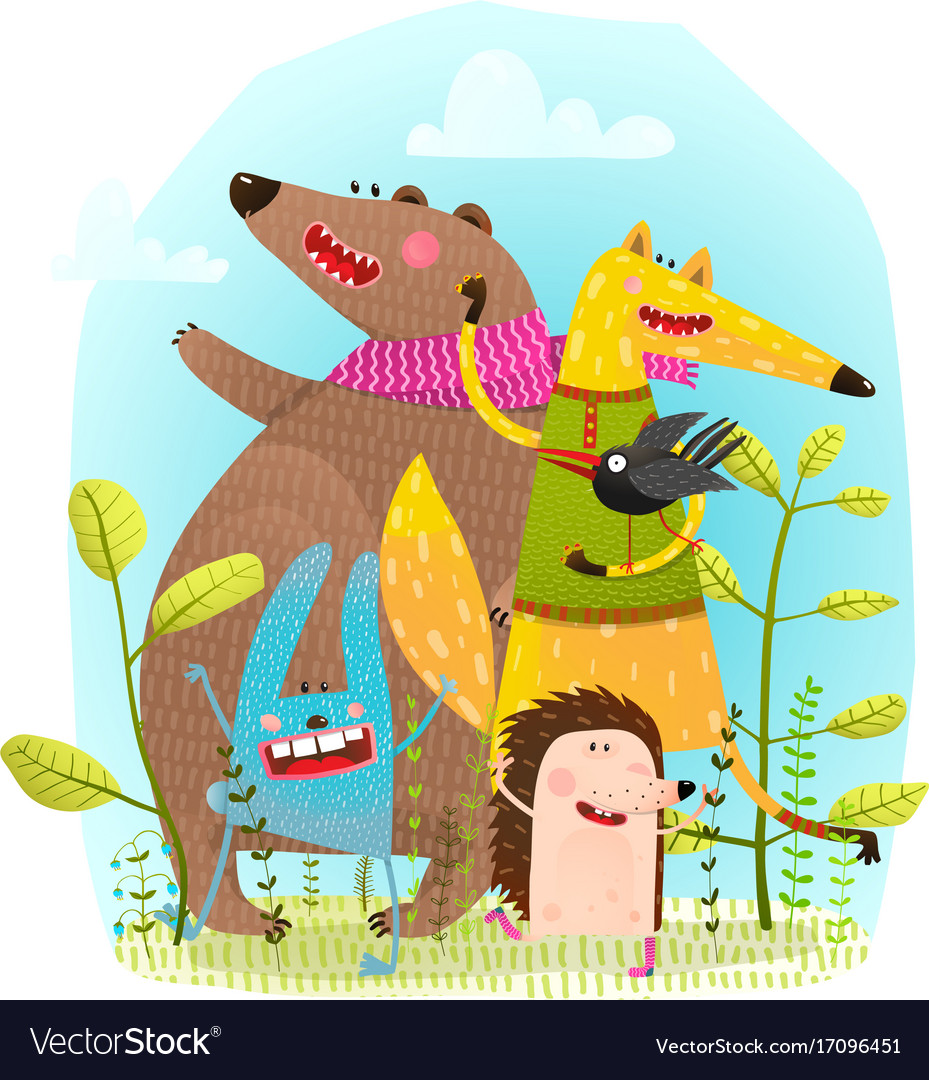 Bear fox hedgehog rabbit and crow funny friends vector image