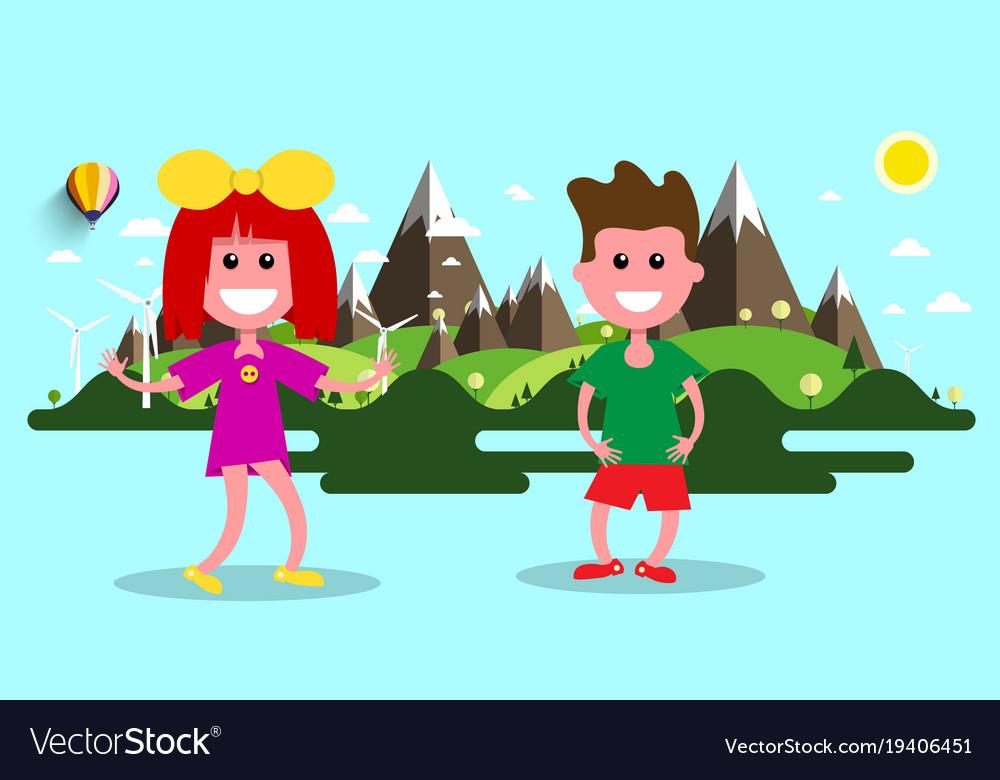 Boy and girl nature flat design landscape on vector image