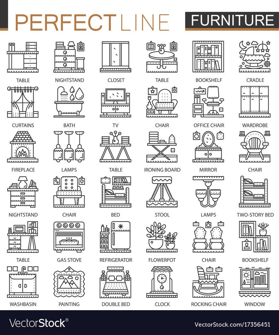 Furniture outline mini concept symbols interior vector image