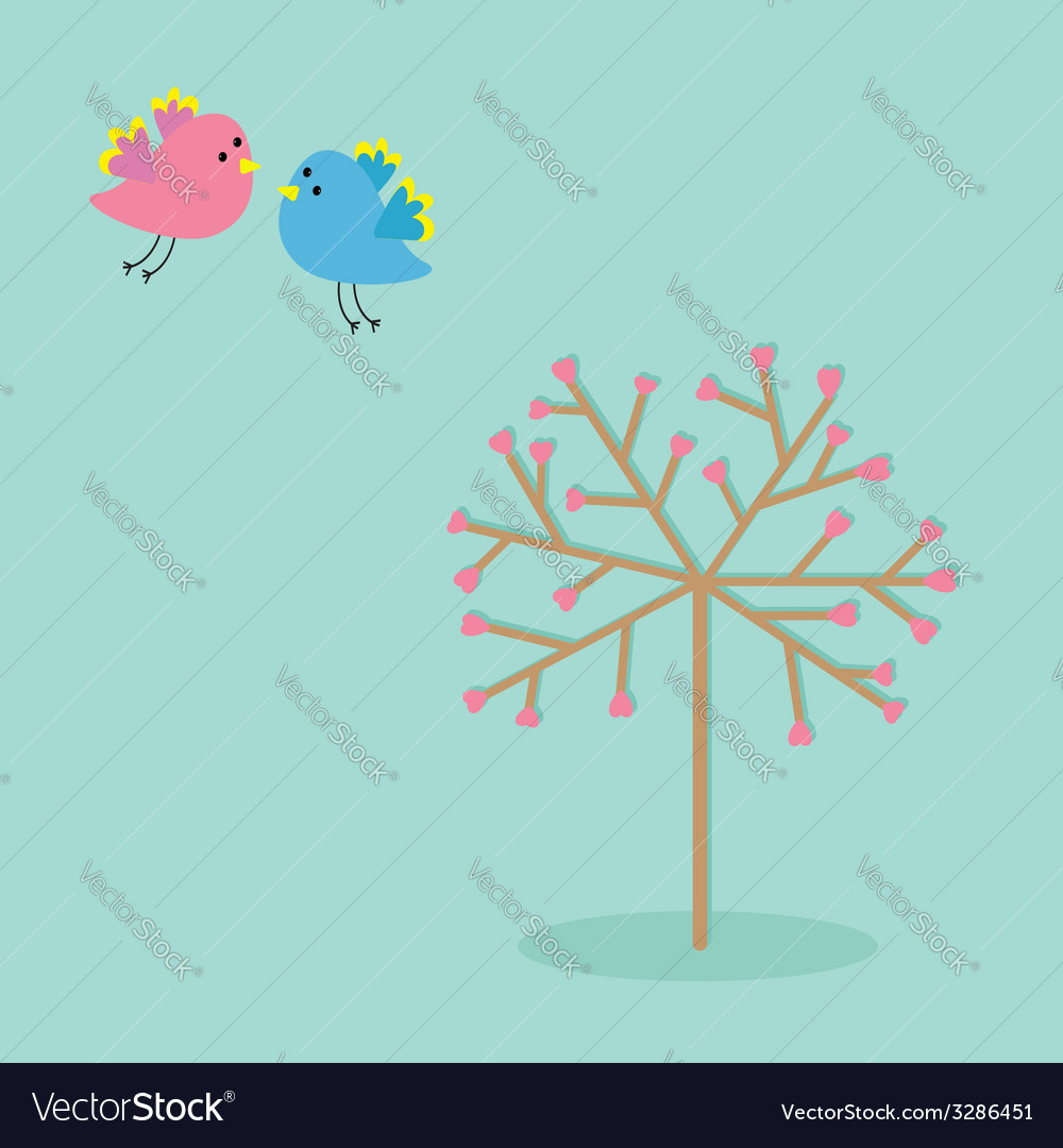Love tree with hearts and bird Flat design vector image