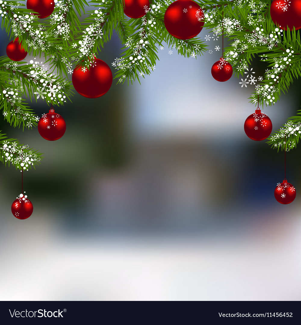Holiday card Green branch of fir with red balls vector image