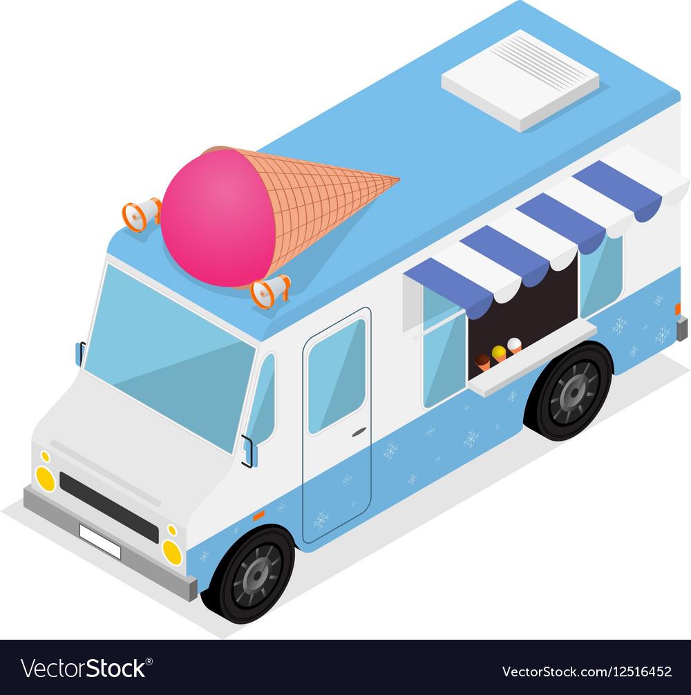 Ice Cream Van Isometric View vector image