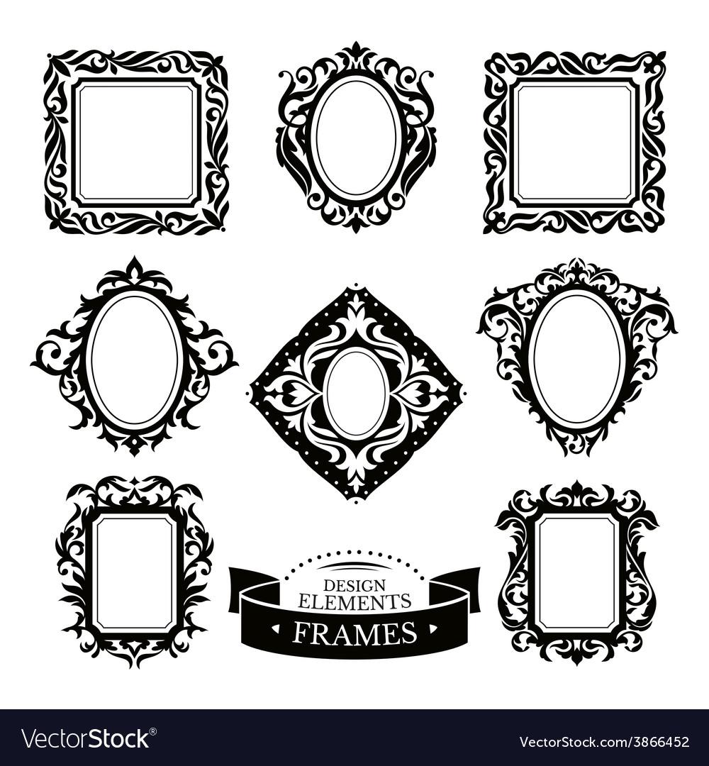 Set of vintage baroque frames vector image