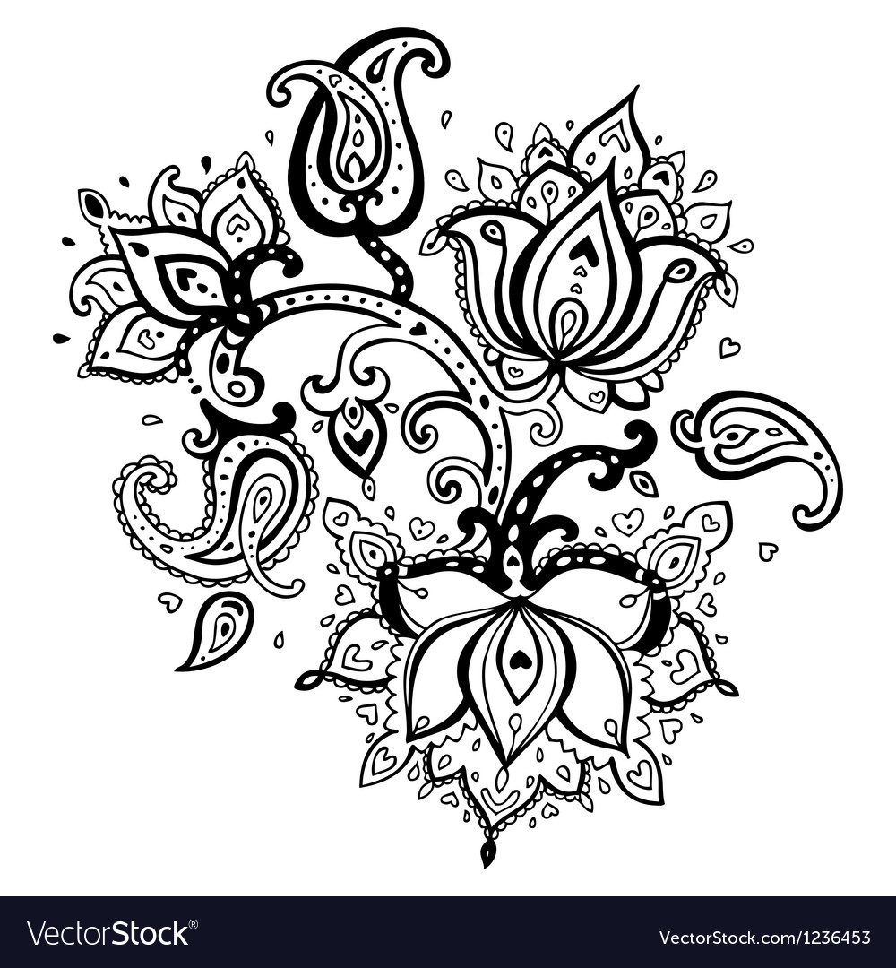 Hand Drawn Paisley ornament vector image