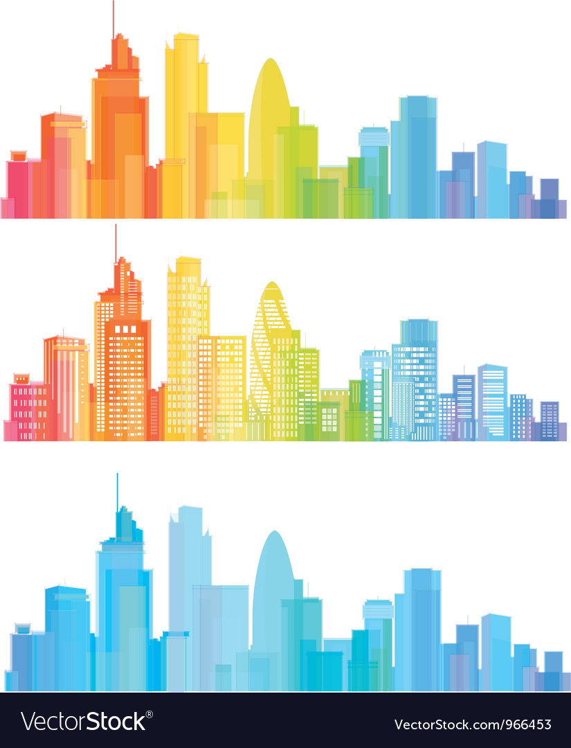 Colorful panorama of cities vector image