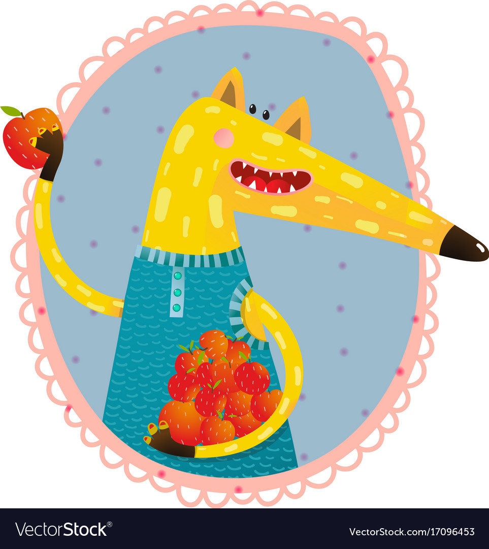 Fox with apples portrait vector image