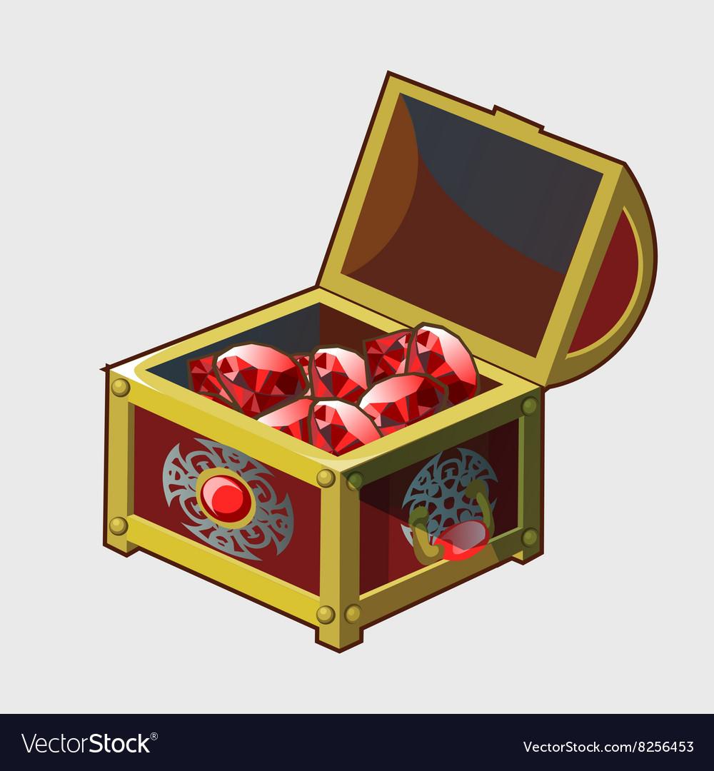 golden royal treasure chest full of rubies vector image