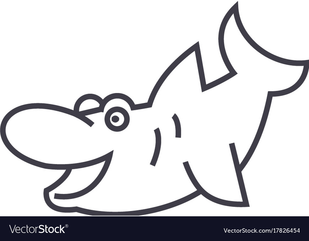 Cute shark line icon sign on vector image