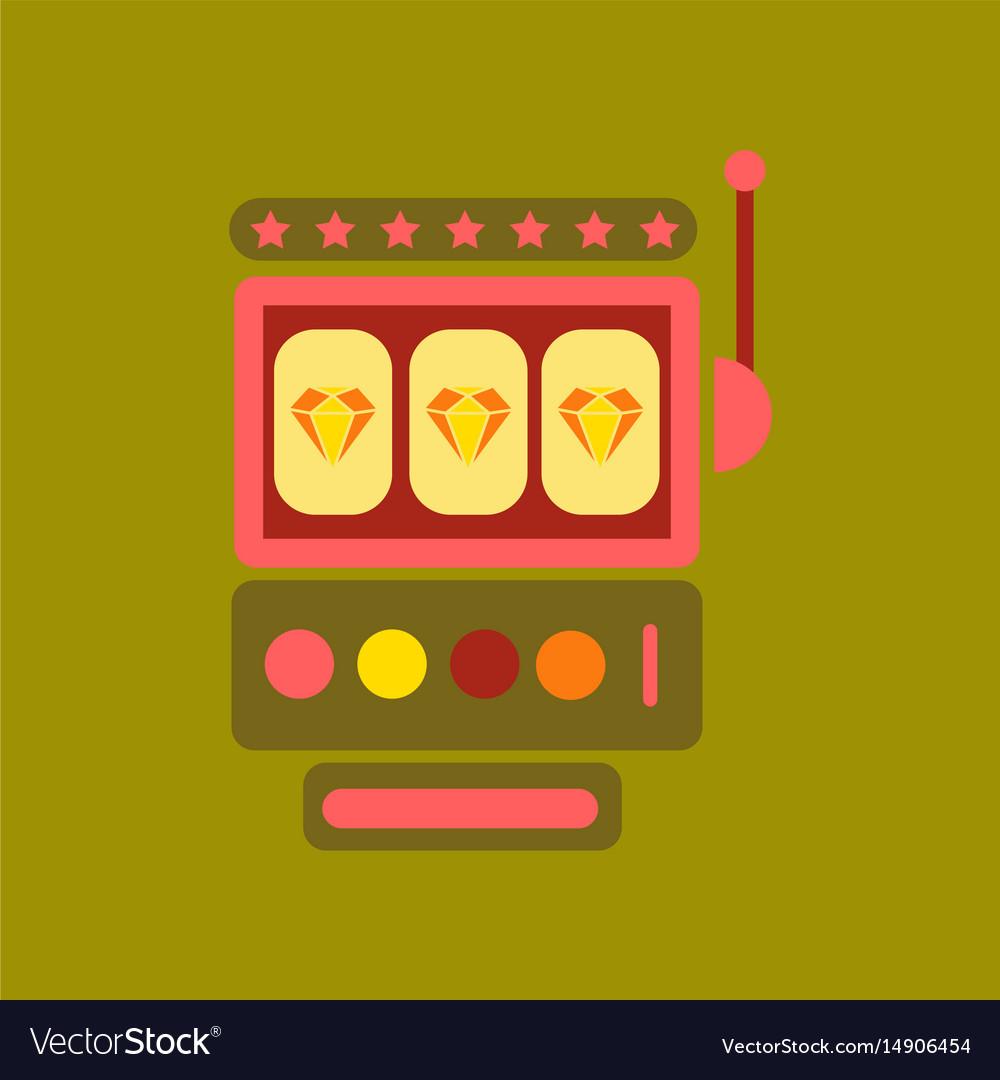 Flat icon on background slot machine vector image