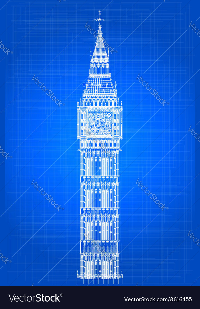 Blueprints For A Modern Four Bedroom Home: Big Ben Blueprint Royalty Free Vector Image