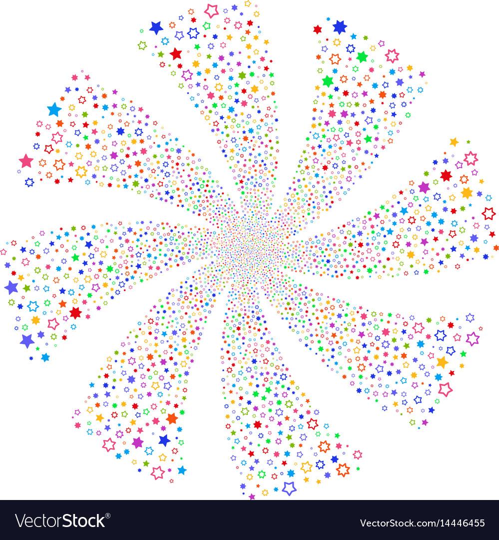 Decoration stars fireworks swirl flower vector image