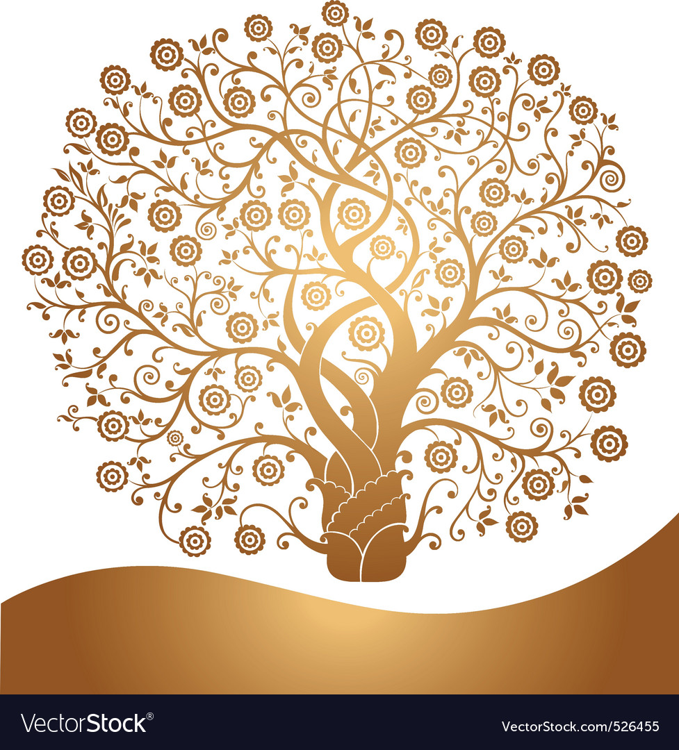 Golden tree vector image