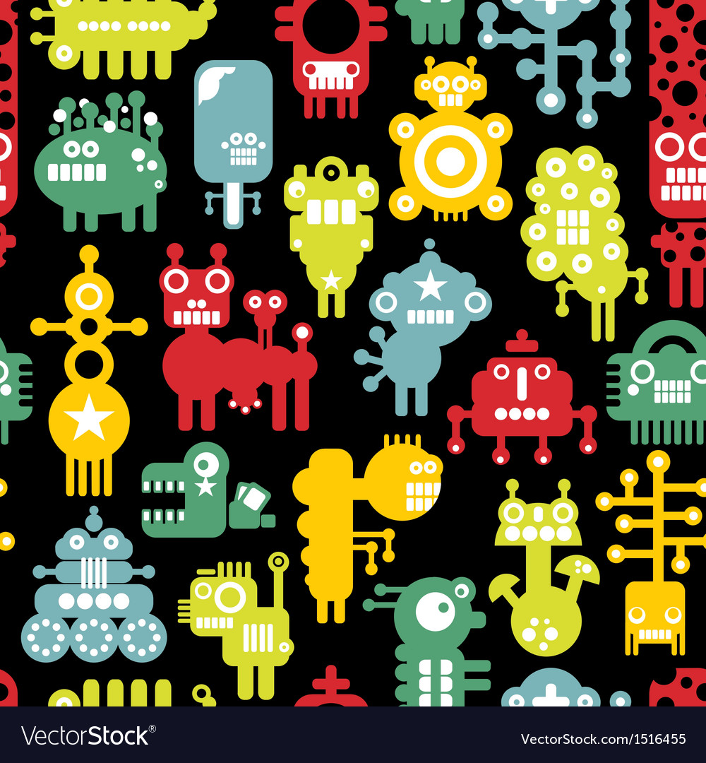 Robot and monsters cute seamless texture vector image