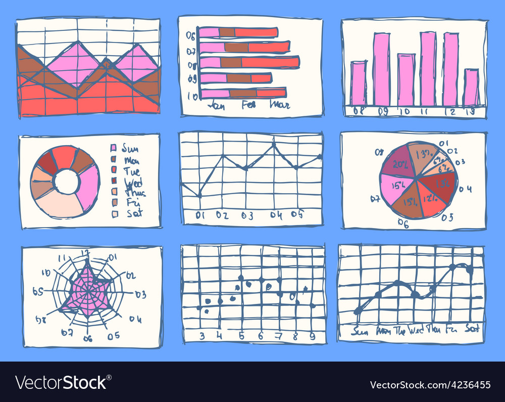 Sketch business charts in vintage style vector image