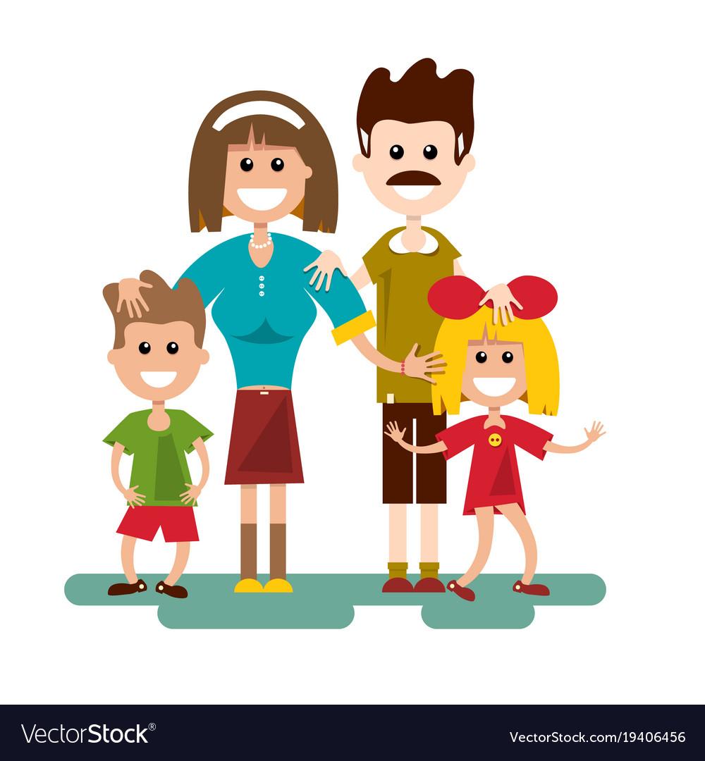 Family cartoon flat design vector image