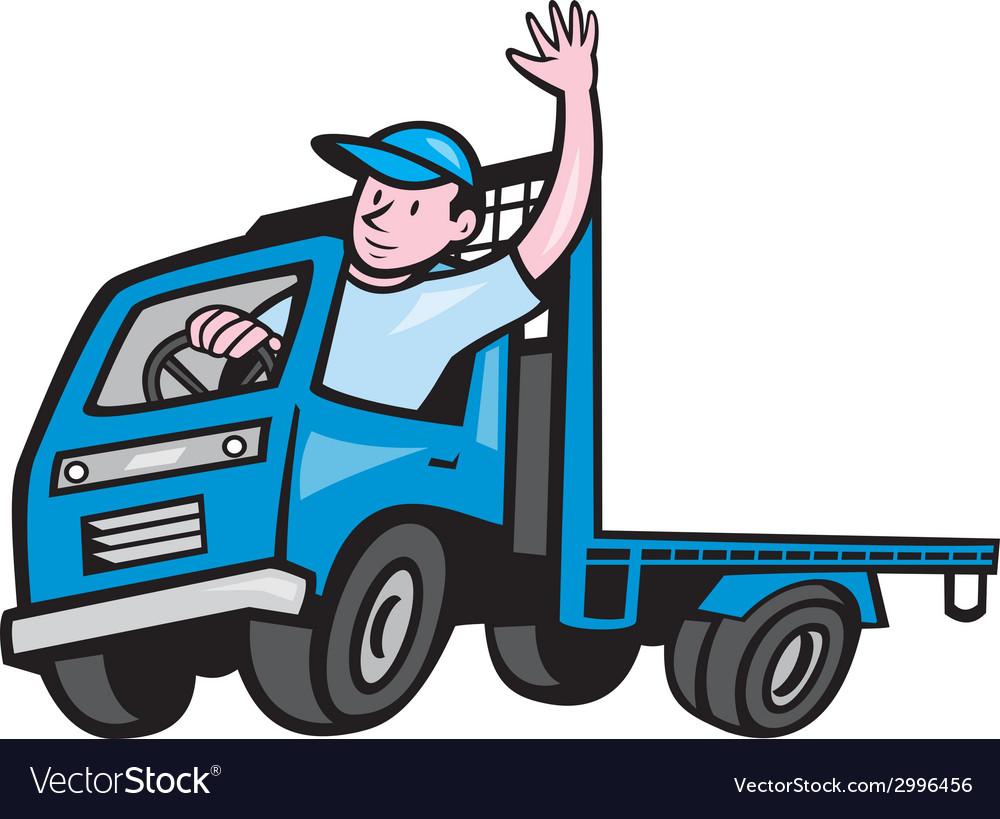 flatbed truck driver waving cartoon royalty free vector