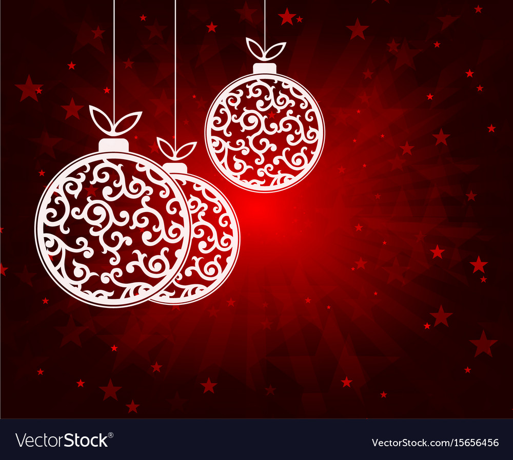 Red christmas background with balls white vector image