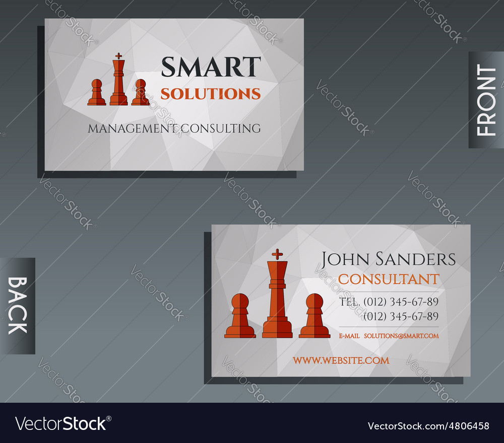 Business and management consulting visiting card Vector Image