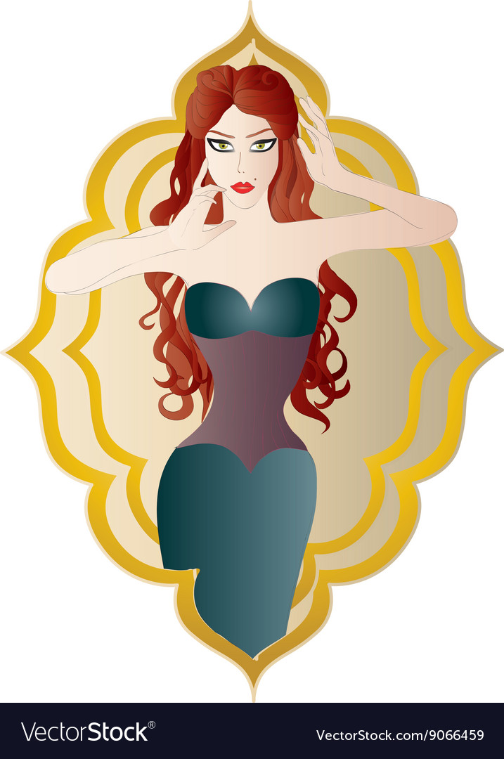 Beautiful women with long red hair vector image