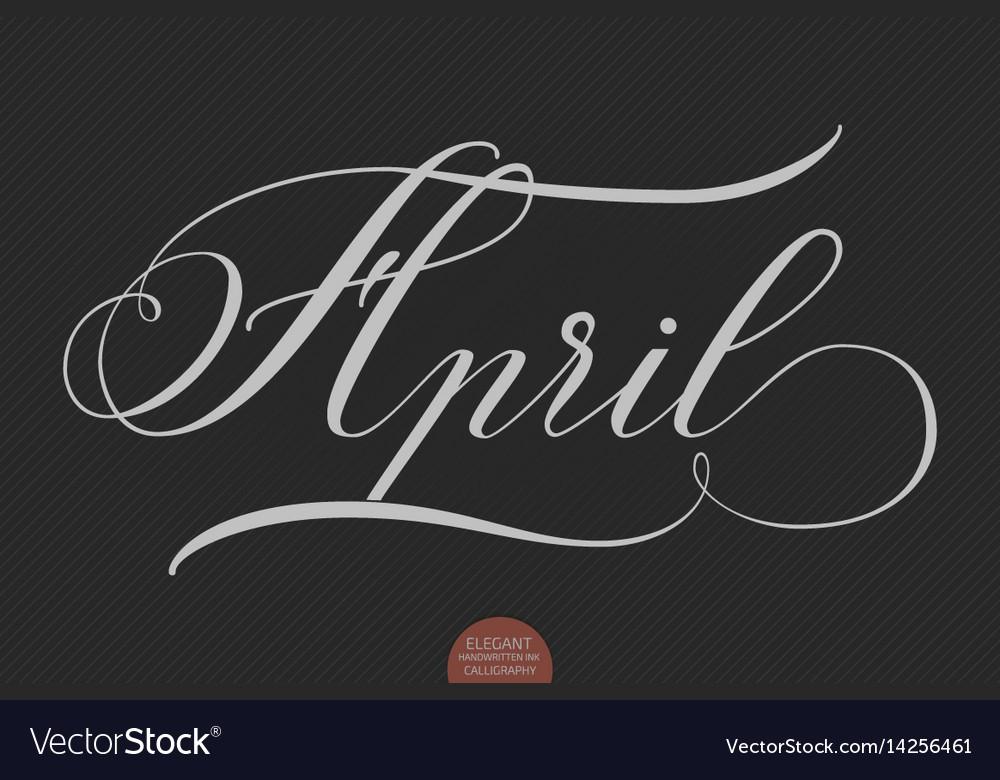 Hand drawn lettering april elegant vector image