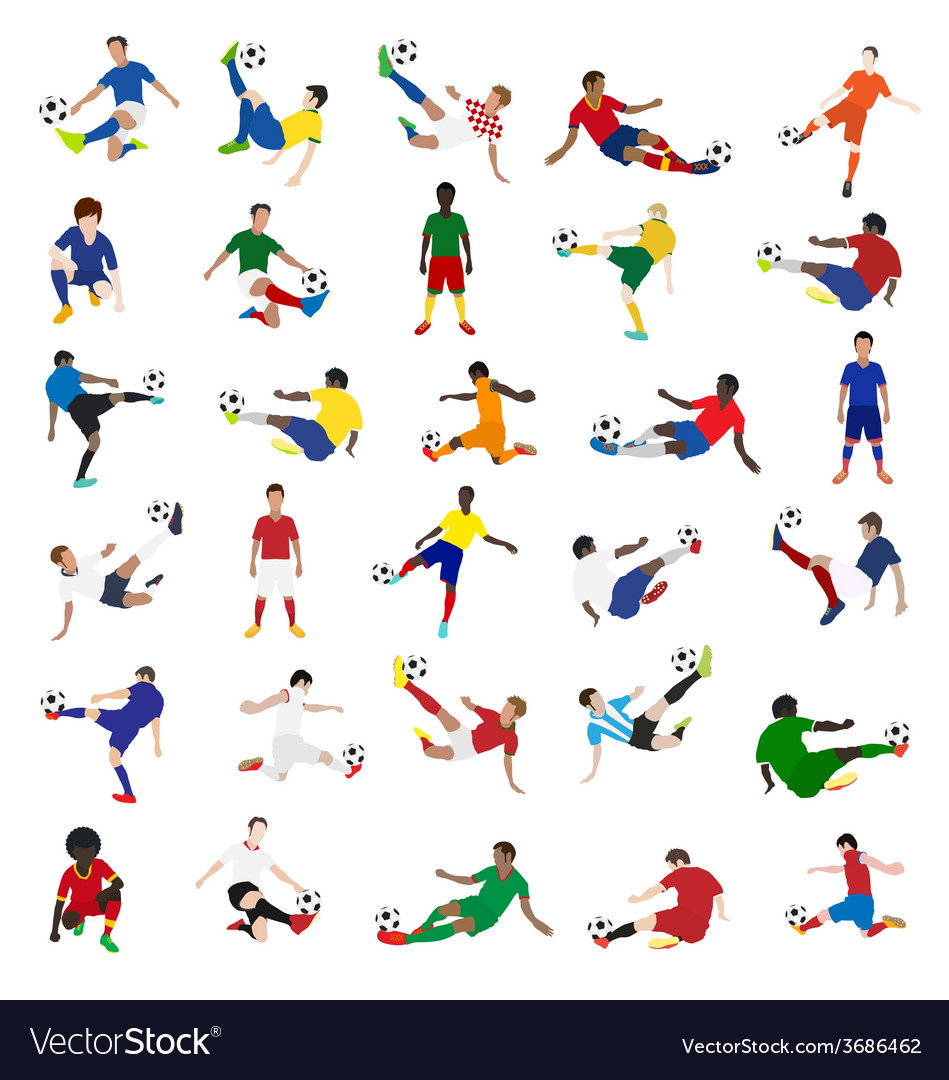 Collection of soccer players vector image