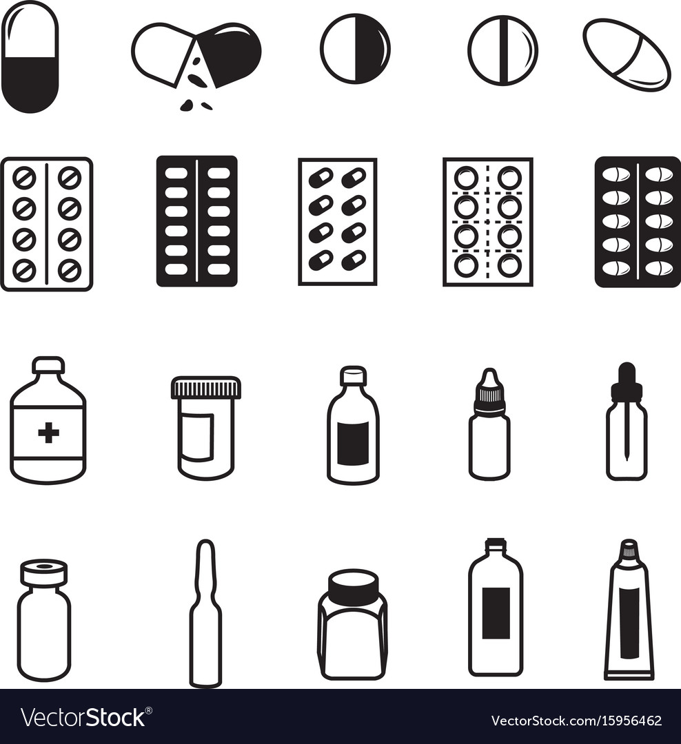 Set of pharmaceutical icons vector image