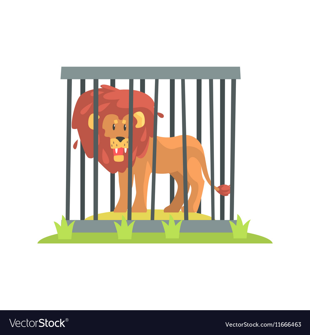 Dangerous Lion With Big Mane Standing Behind The vector image