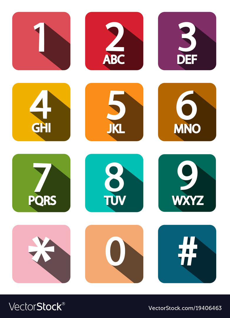 Flat design phone dial numbers set vector image