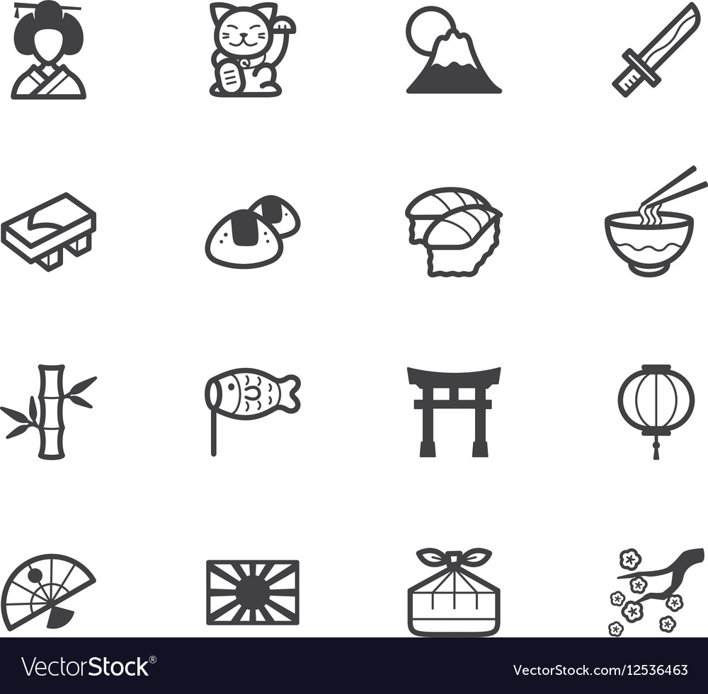 Japan element black icon set on white background vector image