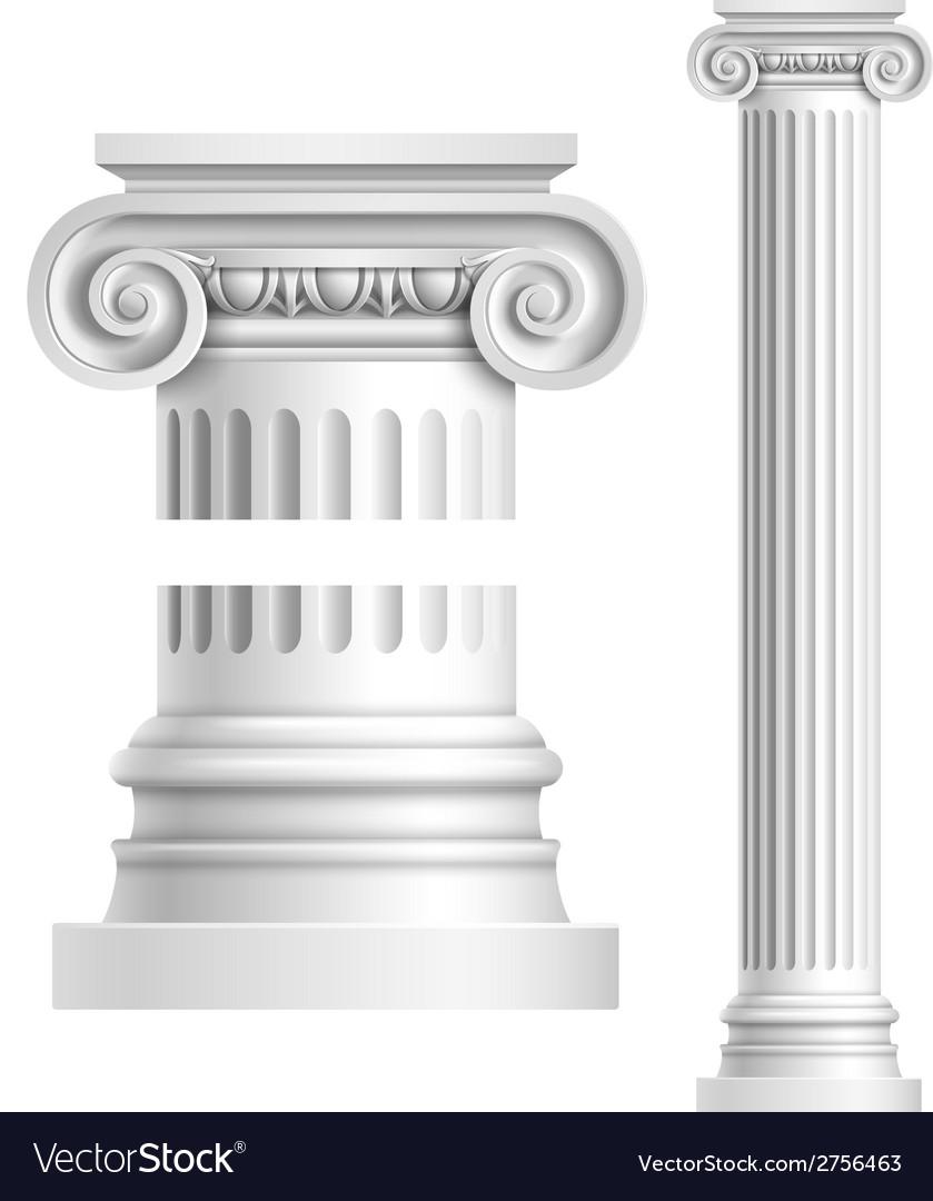Realistic white antique column vector image