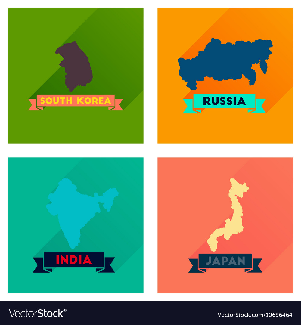 Concept flat icons with long shadow maps countries of world stock concept flat icons with long shadow maps countries of world gumiabroncs Images