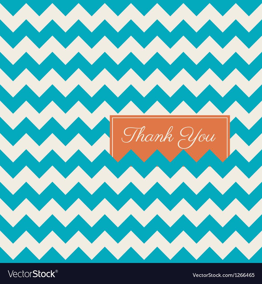 Thank you card chevron background vector image