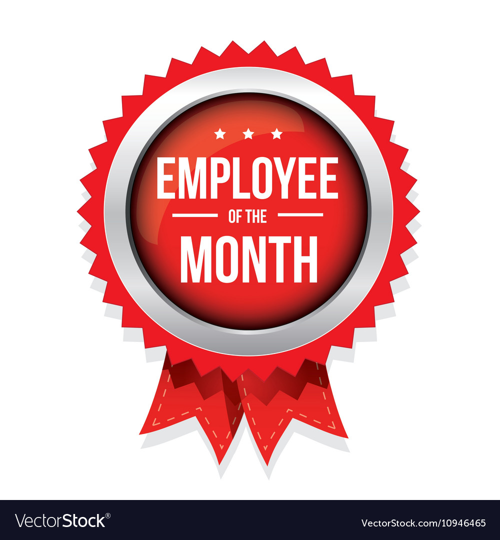 Employee of the month badge with ribbon vector image