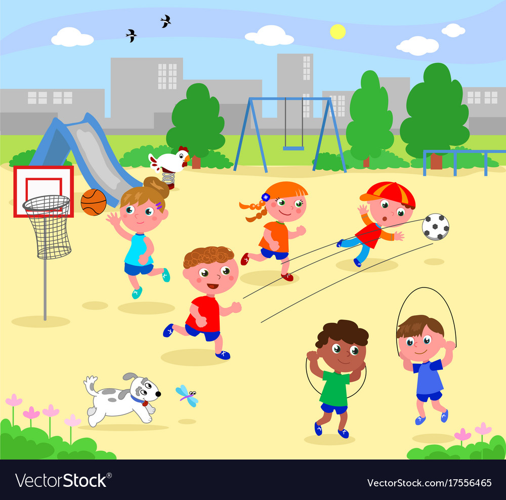 Sportive children at the park vector image
