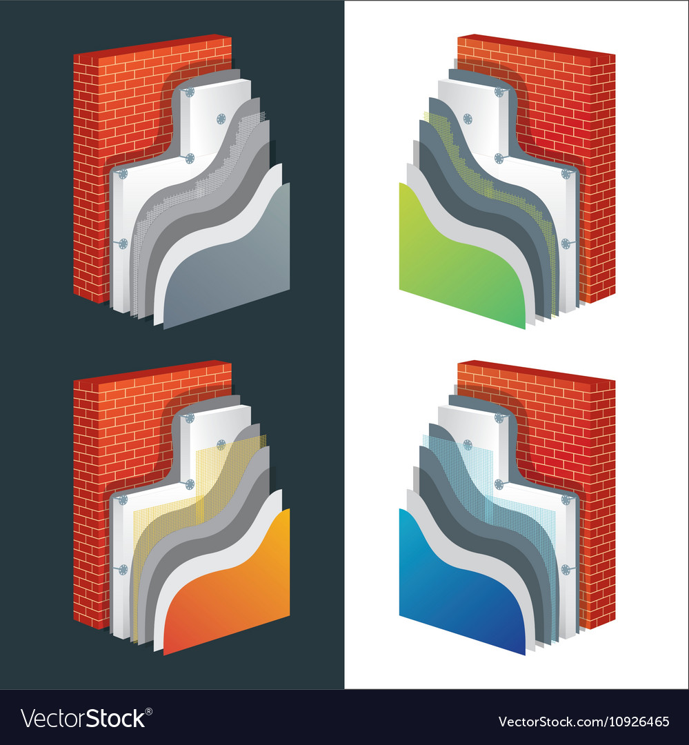 Thermal Insulation Polystyrene Isolated Wall vector image