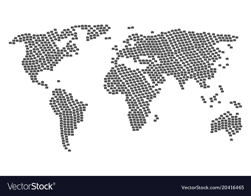 World map collage of photo camera icons royalty free vector world map collage of photo camera icons vector image gumiabroncs Image collections